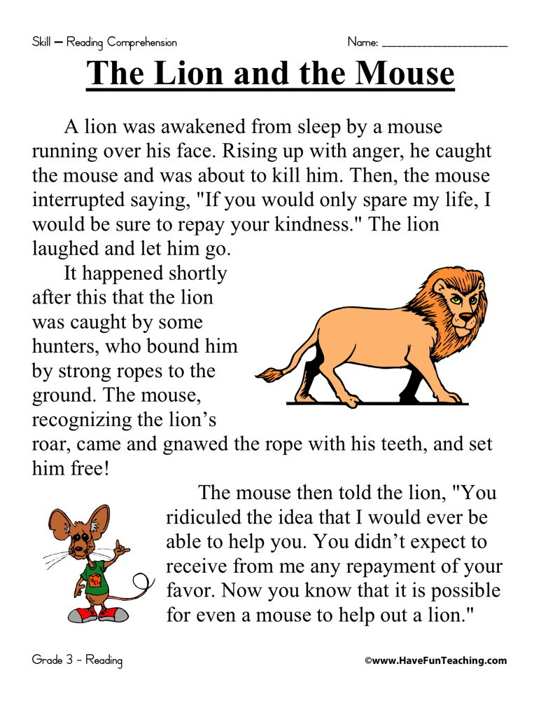 Reading Comprehension Worksheet - The Lion and the Mouse