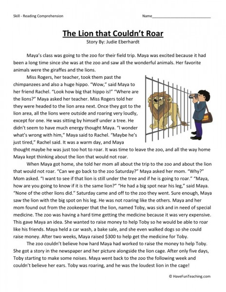 Reading Comprehension Worksheet The Lion That Couldn 39 T Roar