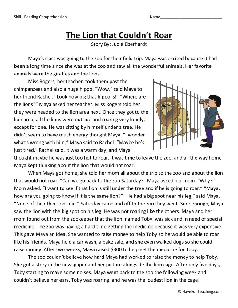 Reading Comprehension Worksheet - The Lion that Couldn't Roar