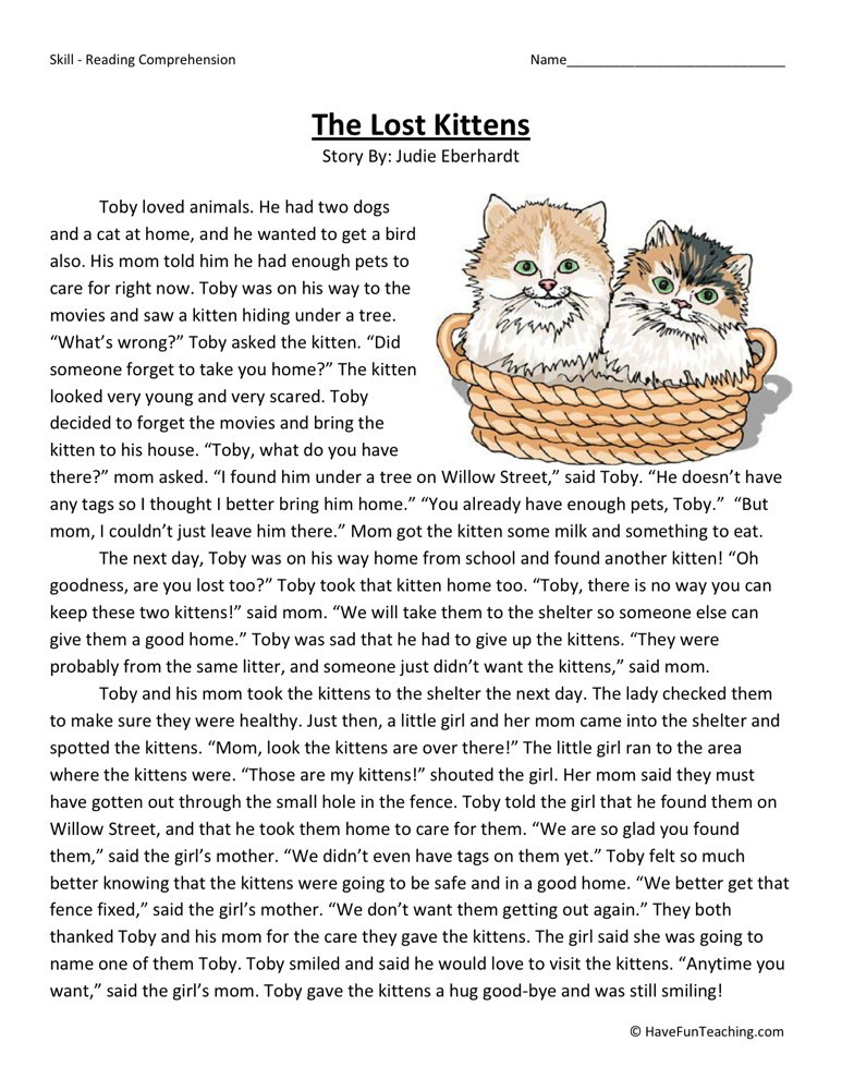 Reading Comprehension Worksheet - The Lost Kittens