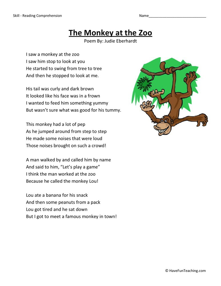 Reading Comprehension Worksheet - The Monkey at the Zoo