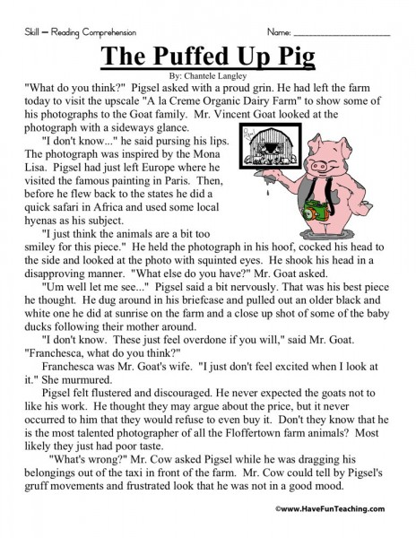 Reading Comprehension Worksheet - The Puffed Up Pig