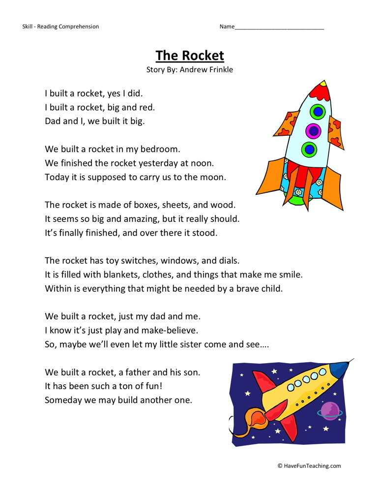 reading comprehension worksheet the rocket. Black Bedroom Furniture Sets. Home Design Ideas