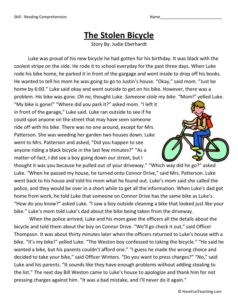 Reading Worksheets For 3rd Grade : Reading comprehension worksheet the stolen bicycle