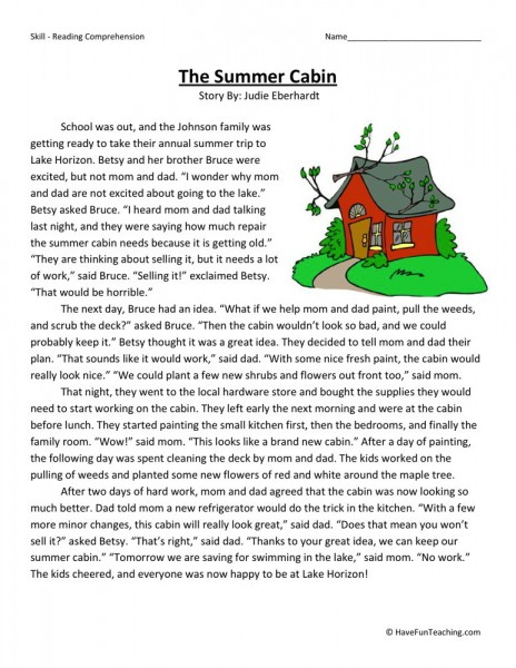4th Grade Reading Worksheets With Questions : Reading comprehension worksheet the summer cabin