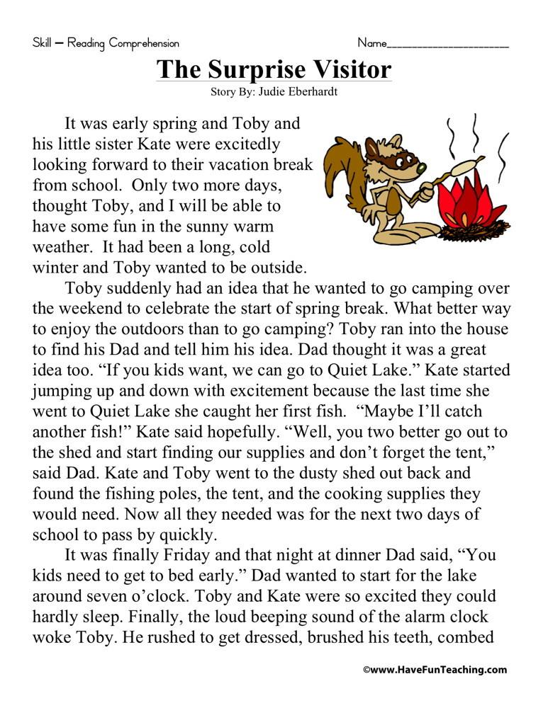 3rd Grade Story Worksheets : Reading comprehension worksheet the surprise visitor