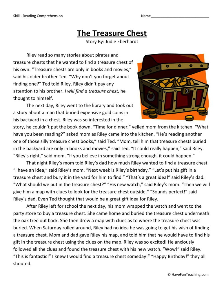 reading comprehension worksheet the treasure chest. Black Bedroom Furniture Sets. Home Design Ideas