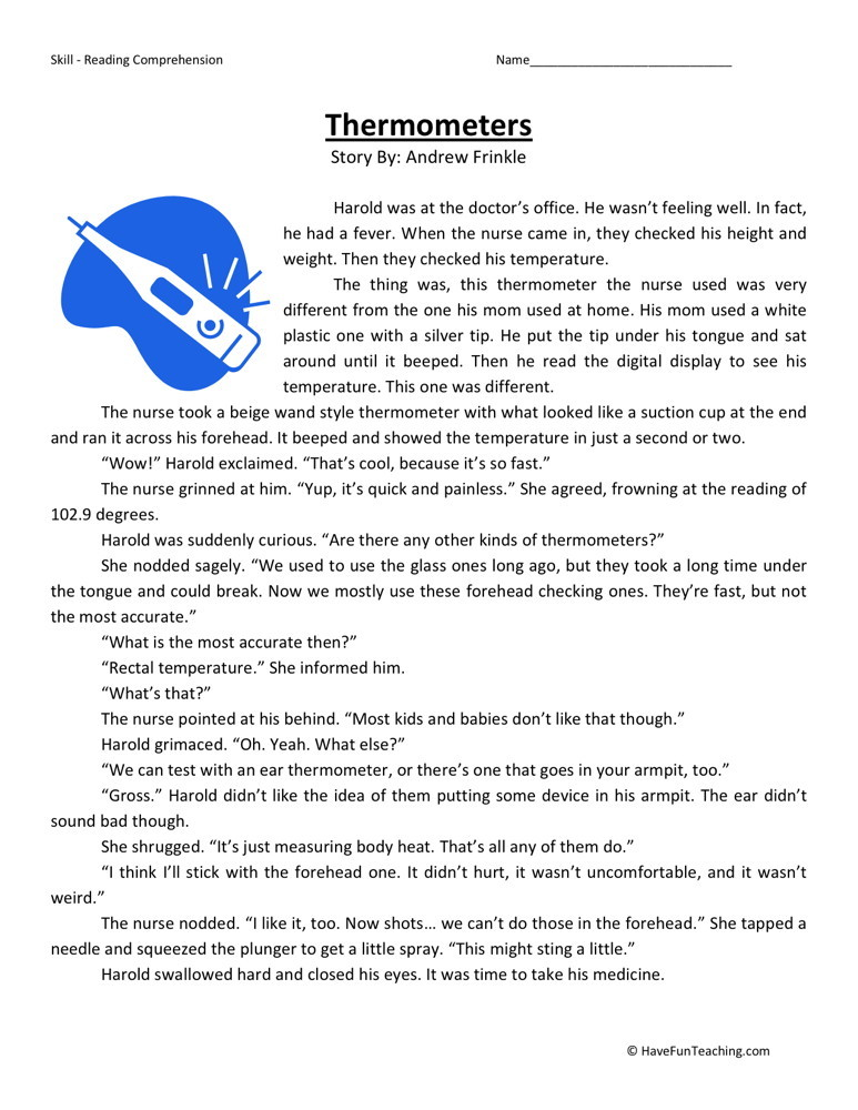 Reading Comprehension Worksheet - Thermometers