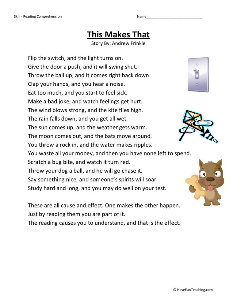 Reading Comprehension Worksheet - This Makes That