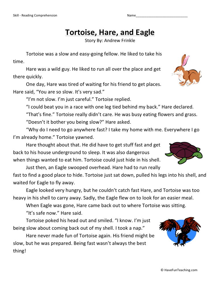 Reading Comprehension Worksheet - Tortoise, Hare, and Eagle