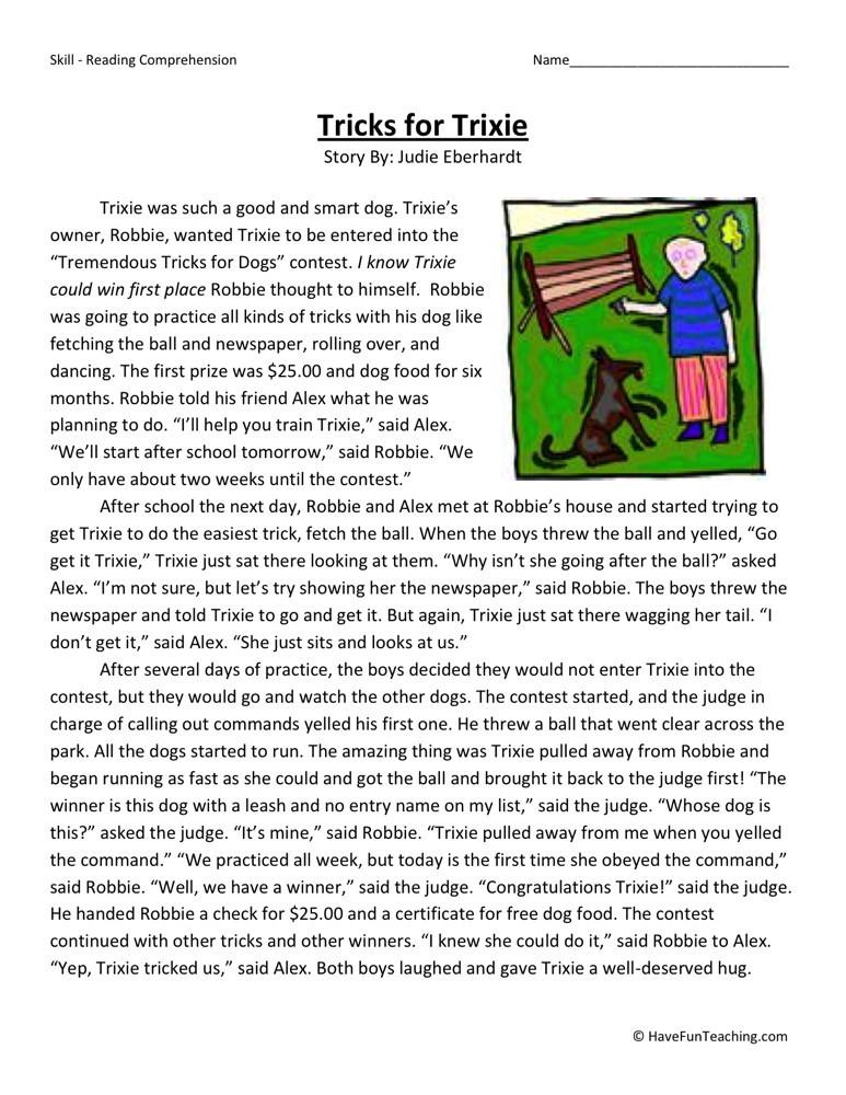 Reading Comprehension Worksheet - Tricks for Trixie