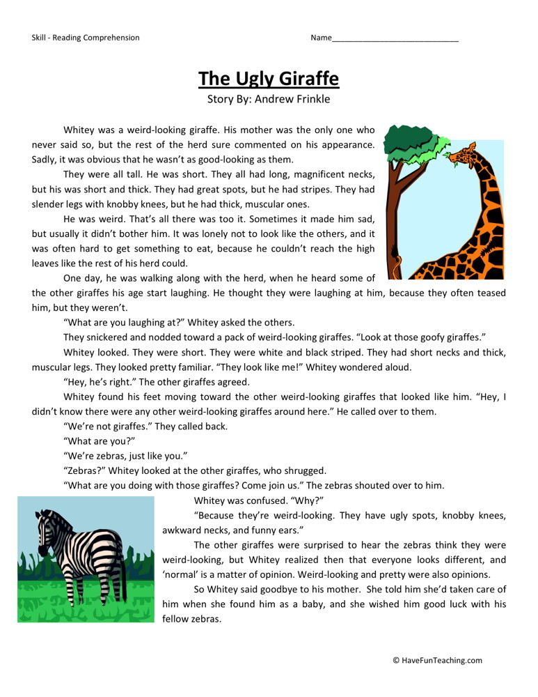 Reading Comprehension Worksheet - The Ugly Giraffe