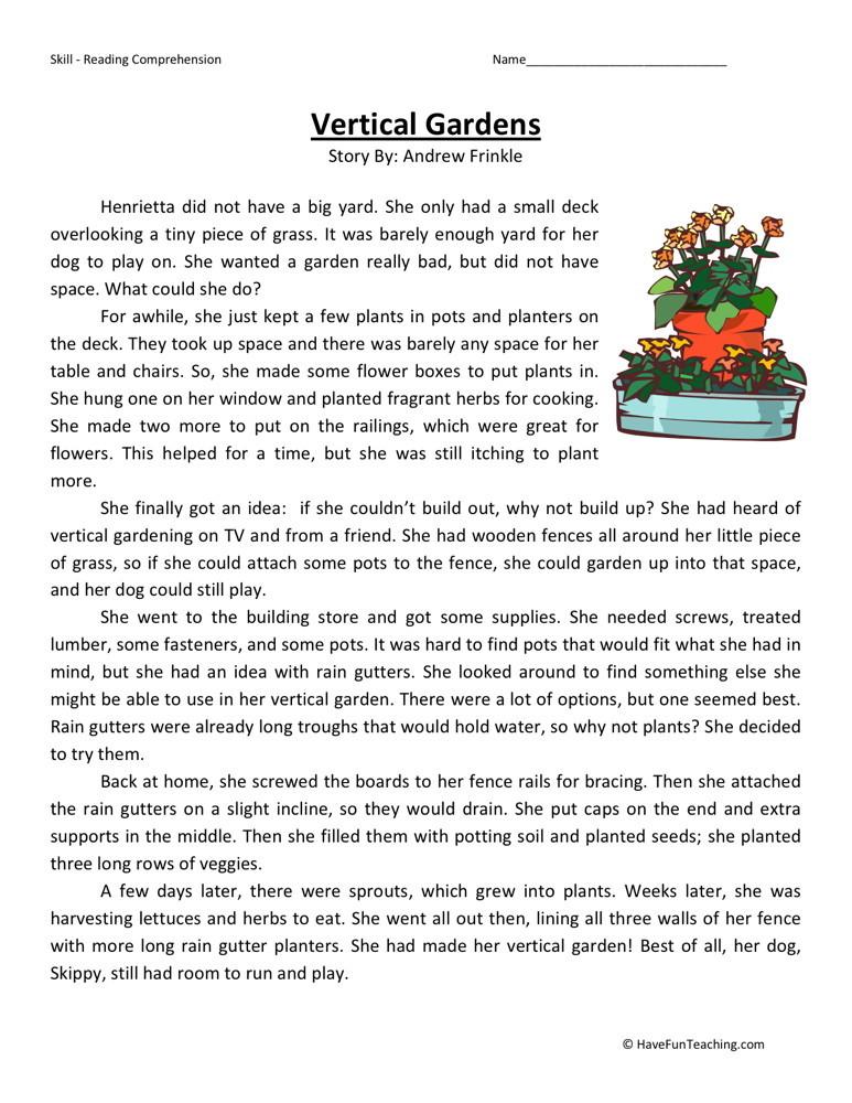 4th Grade Reading Worksheets Printable : Reading comprehension worksheet vertical gardens