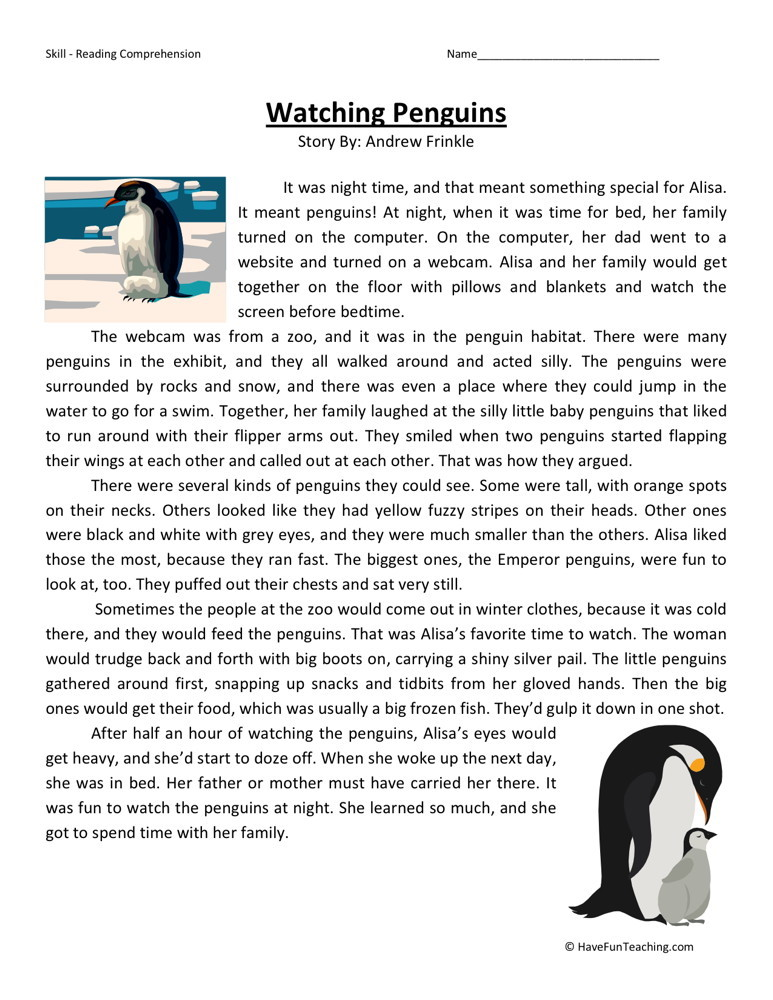 Reading Prehension Worksheet Watching Penguins