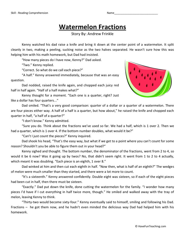 Reading Comprehension Worksheet - Watermelon Fractions