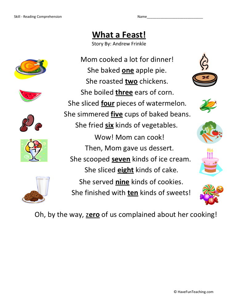 Free thanksgiving reading worksheets for 1st grade