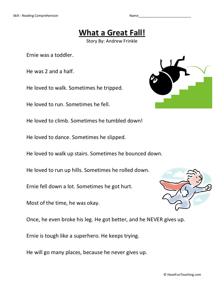 Reading Comprehension Worksheet What A Great Fall