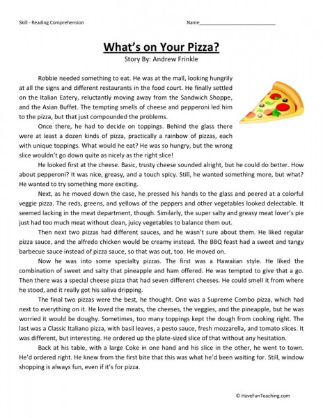 Reading Comprehension Worksheet What 39 S On Your Pizza