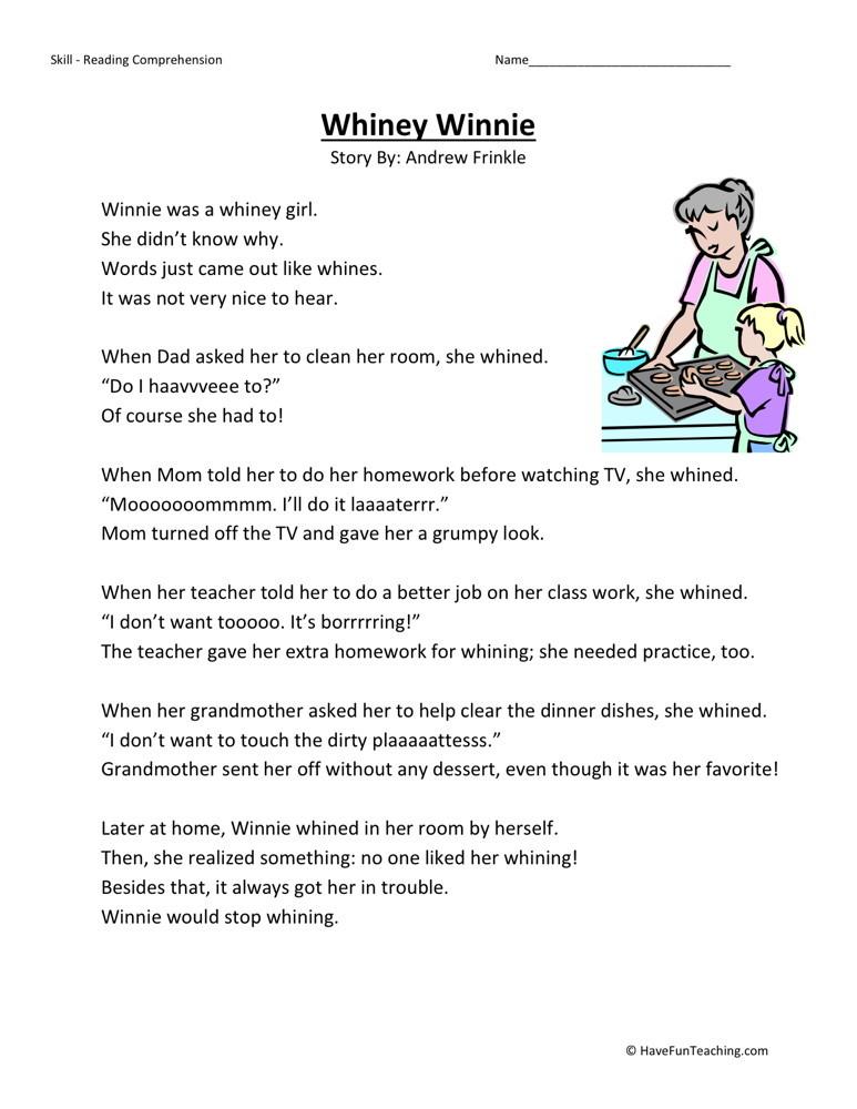 Reading Comprehension Worksheet - Whitney Winnie