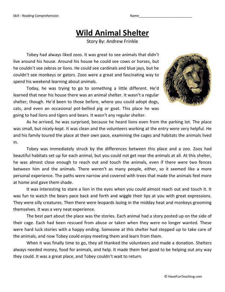 ... Fifth Grade Reading Comprehension Worksheets › Wild Animal Shelter