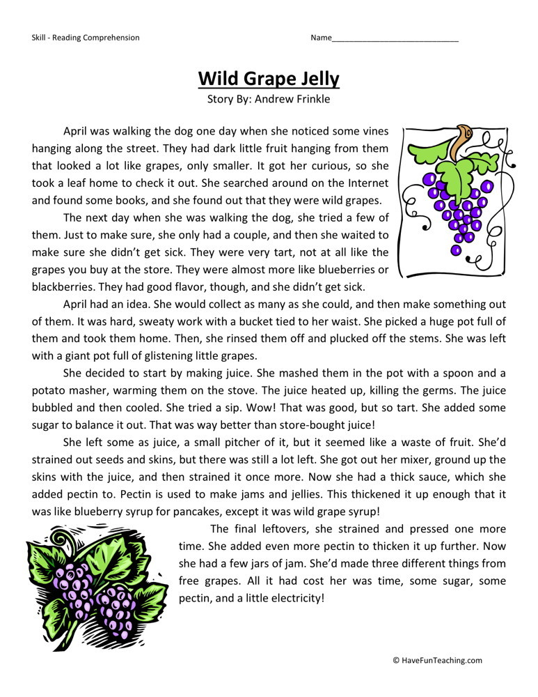 Reading Comprehension Worksheet - Wild Grape Jelly