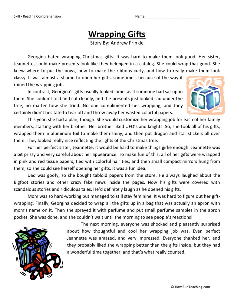 5th Grade Reading Comprehension Worksheets : Reading comprehension worksheet wrapping gifts